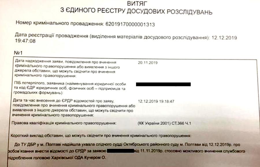 Главу Харьковской облгосадминистрации подозревают в служебном подлоге